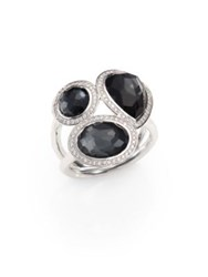 Ippolita Hematite Doublet Diamond And Sterling Silver Ring Silver Black