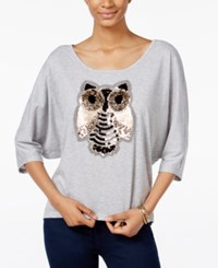 Miss Chievous Juniors' Sequined Owl Dolman Sleeve T Shirt Shadow