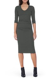 Michael Stars Women's Side Ruched Midi Dress Olive Moss