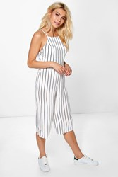 Boohoo High Neck Open Back Jumpsuit White