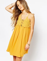 Kiss The Sky Lace Top Sun Dress Yellow