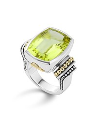 Lagos 18K Gold And Sterling Silver Caviar Color Ring With Green Quartz Green Silver