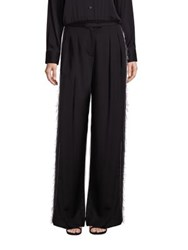 Dkny Mixed Media Wide Leg Pants Black White