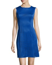 Marc New York By Andrew Marc Perforated Scuba Fit And Flare Dress Cornflower