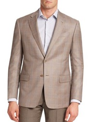 Armani Collezioni Plaid Virgin Wool Blazer Cappuccino