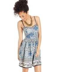 American Rag Printed Bustier Dress Medallion Border