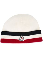 Moncler Striped Trim Knitted Hat Nude And Neutrals