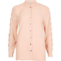 River Island Womens Light Pink Embellished Sleeve Shirt