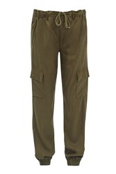 French Connection Military Tencel Tapered Trousers Green