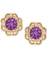 Macy's Amethyst 9 10 Ct. T.W. And Diamond Accent Filigree Stud Earrings In 14K Gold Purple