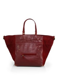 Jerome Dreyfuss Small Slouchy Leather And Suede Tote Bordeaux