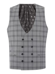 Label Lab Belvin Check Db Suit Waistcoat Grey