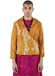 Swati Kalsi Silk Short Embroidered Wrap Jacket Orange