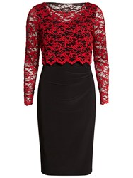 Gina Bacconi Dress With 3D Embroidered Net Overtop Black Red