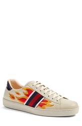 Gucci Men's 'New Ace Flames' Sneaker With Genuine Snakeskin Detail White Leather