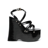 Jealous Much 90S Black Strappy Wedge Platform By Americandeadstock