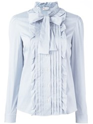 Red Valentino Ruffled Pussy Bow Blouse Blue