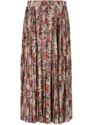Valentino Floral Print Midi Skirt Nude And Neutrals
