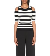 Karen Millen Striped Cold Shoulder Knitted Jumper Monochrome