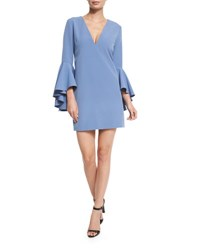 Milly Nicole Bell Sleeve Cady Shift Dress Ice