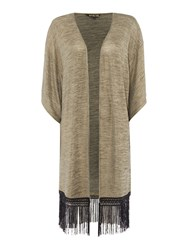 Biba Throw On Metallic Fringed Cardigan Gold