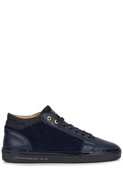 Android Propulsion Navy Textured Leather Trainers
