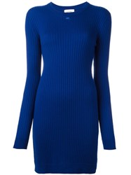 Courreges Fitted Knit Dress Blue