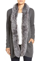 Women's Sofia Cashmere Genuine Fox Fur Trim Cashmere Cardigan