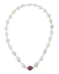 Bavna Long Baroque Pearl Necklace W Pave Pink Tourmaline Bead Women's