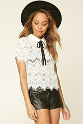 Forever 21 Eyelash Lace Tie Neck Blouse