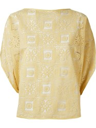 Martha Medeiros Lace Blouse Yellow And Orange