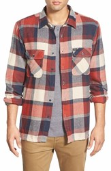 Men's Brixton 'Archie' Trim Fit Long Sleeve Plaid Flannel Shirt Red Navy