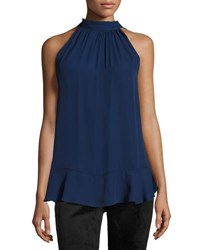 Max Studio Tie Neck Sleeveless Blouse Purple Blu