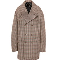 Raf Simons Oversized Double Breasted Checked Twill Coat Tan