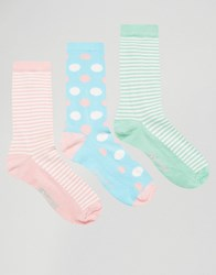 Penguin 3 Pack Stripe Print Socks Multi