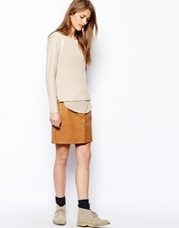 Le Mont St Michel Leather Skirt With Button Detail