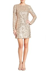 Women's Dress The Population 'Bailey' Long Sleeve Sequin Dress Nude Rose Gold