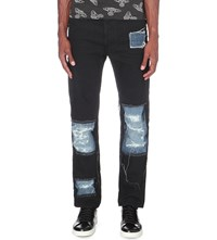 Anglomania Patchwork Slim Fit Tapered Jeans Black