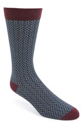 Men's Ted Baker London 'Crosser' Geometric Pattern Socks Blue Navy