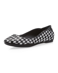 Schutz Sequin Check Pointed Toe Flat Black White