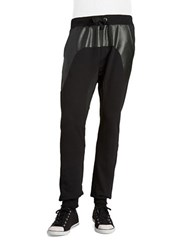 Rogue State Faux Leather And Mesh Joggers Black