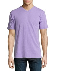 Robert Graham Navajo Short Sleeve V Neck Tee Lavender Purple