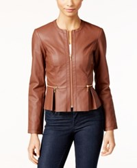 Inc International Concepts Petite Faux Leather Peplum Moto Jacket Only At Macy's French Cafe