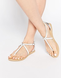 New Look Plaited Leather Sandals White