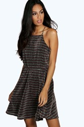 Boohoo Metallic Stripe Drape Back Skater Dress Multi