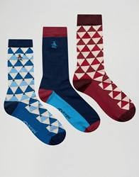Original Penguin 3 Pack Socks Navy