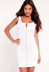 Missguided Fitted Denim Dress White White