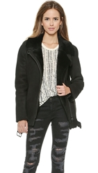 Just Female Chin Shearling Moto Jacket Black