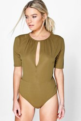 Boohoo Ribbed Key Hole 1 2 Sleeve Body Olive