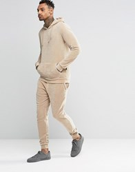 Criminal Damage Skinny Velour Joggers Beige